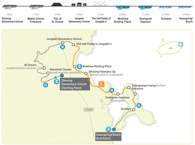 jeju olle trail route 1 map walk together may 2014 event