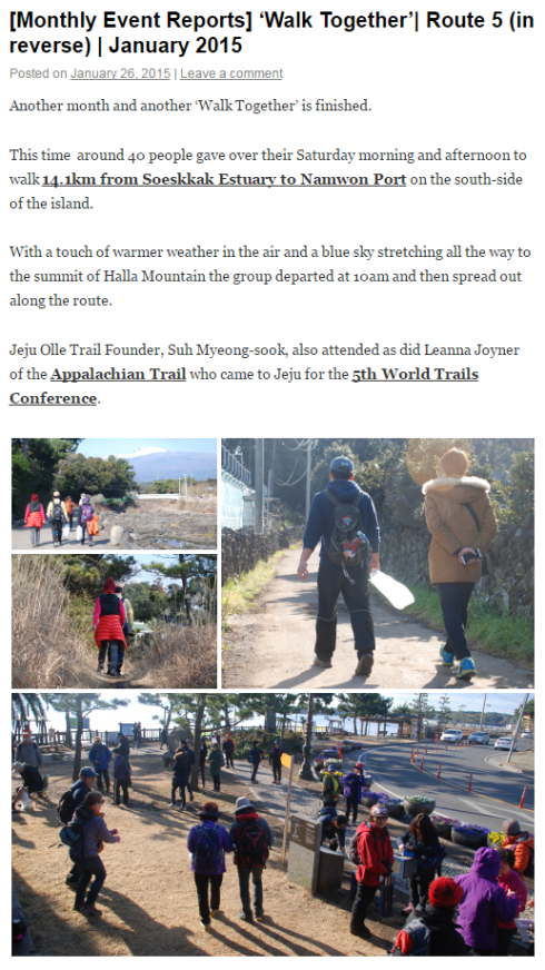 Click on the image for January 2015's 'Walk Together' report