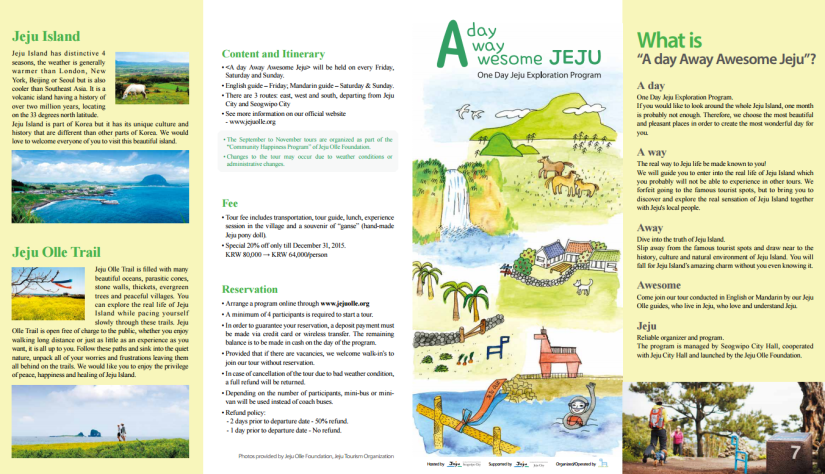 A Day Away Awesome Jeju – Jeju Olle Trail English Guided Tour Program between September and November 2015