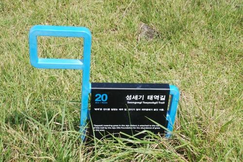 Jeju-Olle-Trail-Waymarking-in-the-ground-ganse